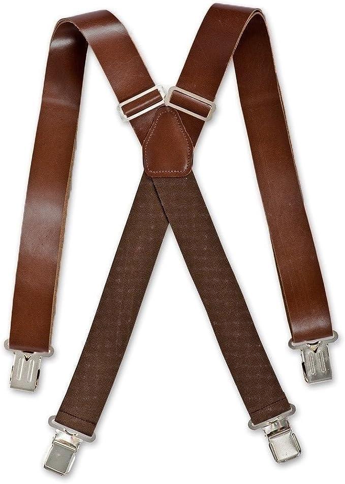 Men's Vintage Style Suspenders Braces Brimarc Mens Real Leather Brown Braces Trouser Belt Suspender 35mm Wide £26.99 AT vintagedancer.com