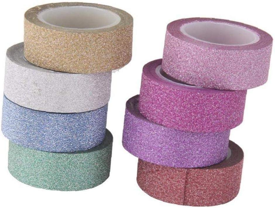 8pcs 10 m rotolo di nastro adesivo adesivo colorato luminosit/à di carta fai da te 1,5 centimetri