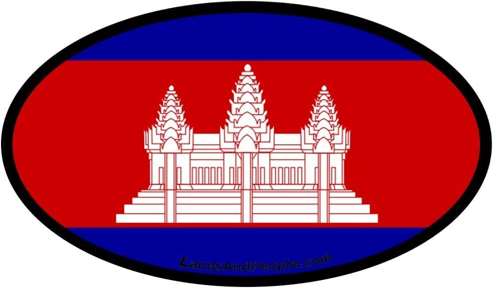 LandsAndPeople Cambodia Kampuchea Flag Car Bumper Sticker Decal Oval