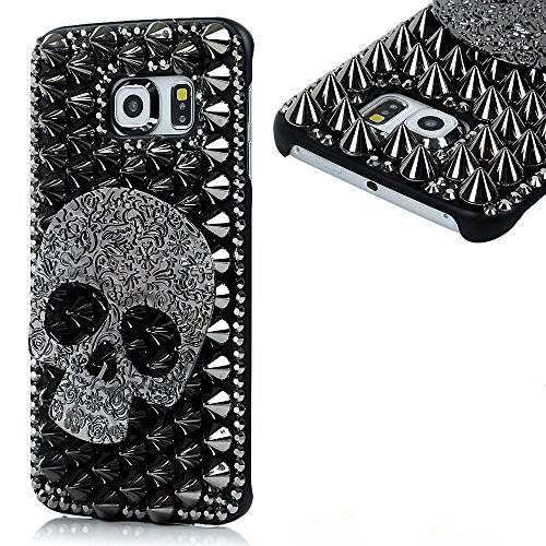 KAKA(TM Fashion Style Skull Pattern 3D Handmade Rhinestone Bling Crystal Pearl Case Cover Clear Hard Case for Samsung Galaxy S6 Edge Plus S6 Edge+