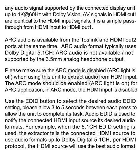 ViewHD UHD 18G HDMI Audio Extractor/Splitter Support HDMI v2.0   HDCP v2.2   4K@60Hz   HDR   ARC   3.5MM Analog Audio Output   Toslink Optical Audio Output   HDMI Audio Output   Model: VHD-UHAE2 by ViewHD (Image #3)
