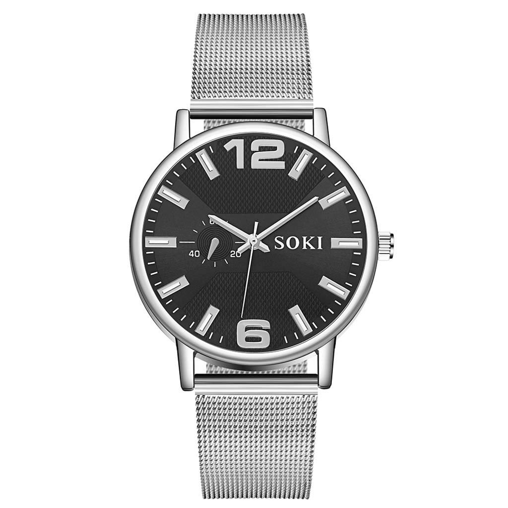 SOKI Men's Fashion Unobtrusive Business Simple Single-Eye Personality Net Belt Watch (Strap Material:Stainless Steel, B)