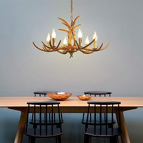 Retro Resin Antler Chandelier 6 Antler Ceiling Lamp Country Style Antler Chandelier