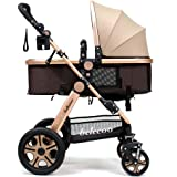 Baby Stroller Newborn Infant Foldable Anti-shock Pram Baby Stroller Toddler Pushchair High View Convertiable Baby Carriage with Reclining Seat(Golden)