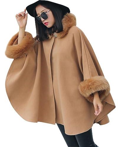 Mujer Casual Abrigo Capa Mantón Medio Largo Calor Grueso Chaqueta