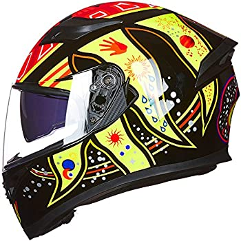 ILM 9 Colors Full Face Dual Visor Motorcycle Helmet DOT (L, COLORFULL)