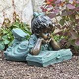 Alpine Girl Laying Down Reading Book Garden Statue