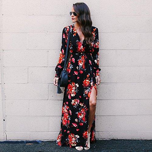 Femme Sexy Party Dress Womens ete Beach Imprimer Dress Robe Mesdames Sleeve Feixiang Long Boheme Noir Longue Fashion wAqCz4E