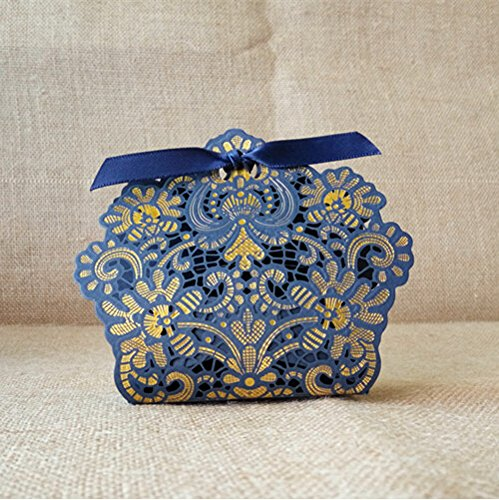 - Worldoor 50ps Laser Cut Navy Blue Wedding Candy Box Gift Boxes Wedding Party Favors Chocolate Box