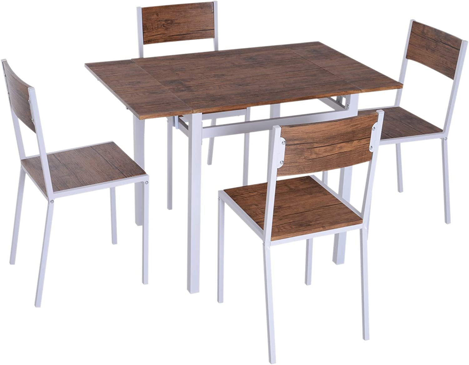 HOMCOM 5 Piece Drop Leaf Counter Height Dining Table and Chairs Set - Walnut/White