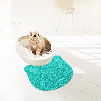 Alfombrilla para arena de gatos, PVC suave y antideslizante, con forma de cara de