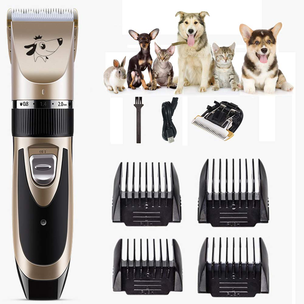 Dog Grooming Clippers,Cordless Quiet Pet Hair Clippers Trimmer USB Charging with 4 Comb Guides and Cleaning Brush,Replaceable Battery