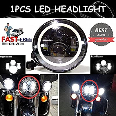 """LED 7"""" Car Round Headlight H6024 Motorcycle Projector Angel Halo Eye For Harley-Davidson H4 H13 Adapter – 2 Year Warranty"""