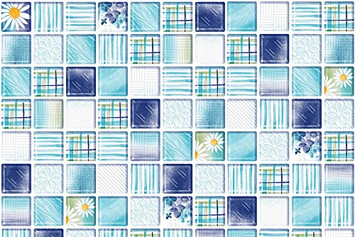 "Blue Base Tile (VandA Shop Peel and Stick Backsplash Kitchen Tile Removable -Blue flowers Design- (38"" x 16""))"