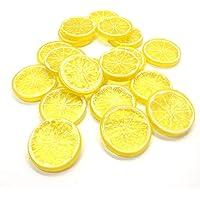 WISTOM 20PCS Mini Small Simulation Lemon Slices Plastic Fake Artificial Fruit Model Party Kitchen Wedding Decoration