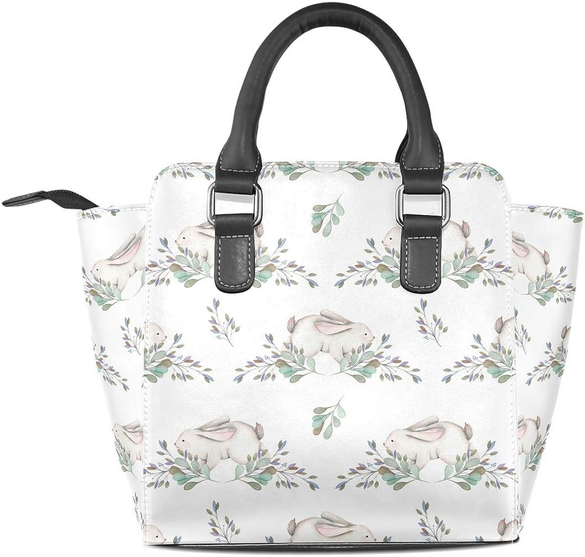 Pink Cartoon Rabbit Leather Handbags Purses Shoulder Tote Satchel Bags Womens