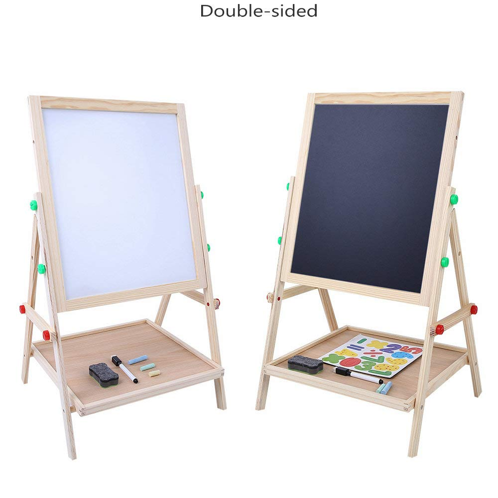 Yosoo Children Double-Sided Standing Wooden Drawing Board Easel Polished Kids Wood Art Painting Writing Board Blackboard Whiteboard