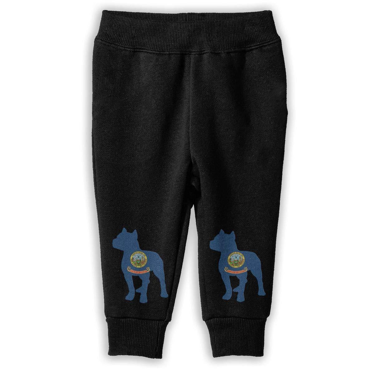 NJKM5MJ Patriotic Pitbull Idaho State Flag Sweatpants Little Girls Jogger Fleece Pants