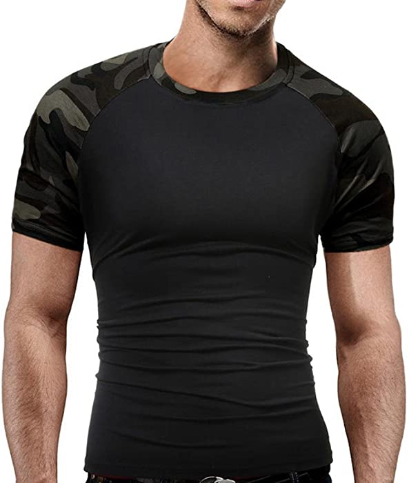 25cd613ae0d Camo T-Shirts Men's Slim Fit T Shirt Military Camouflage O-Neck Short-Sleeved  Tees Casual Army Style Top (M(Bust:95cm/37.40