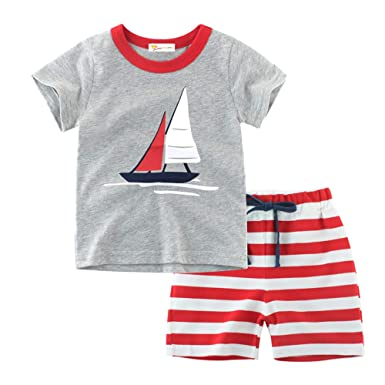 Clothing Sets Kids Boys Sets Summer Boys Sets Clothes T Shirt+short Pants Cotton Sports Fire Truck Printed Set Children Suit For 1-7t M Beautiful In Colour