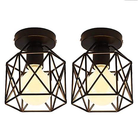 2 lámparas de techo industrial jaula cuadrada metal hierro retro ...