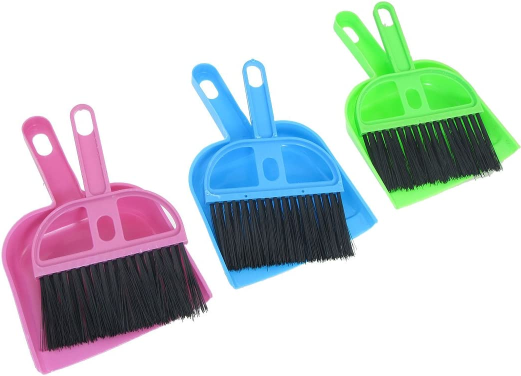 uxcell Car Keyboard Cleaning Whisk Broom Dustpan Set 3 Pcs Assorted Color