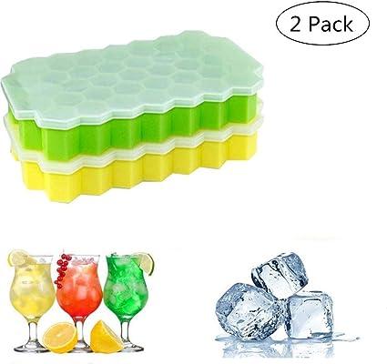Alimenti per Bambini Stampo Ghiaccio con Coperchio Vino e Altre Bevande Stampo Cubetti Ghiaccio Silicone 37 Cubi Vassoio Ghiaccio per Congelatore