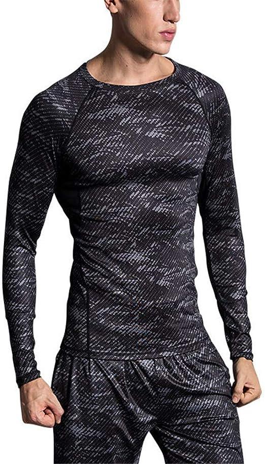 Camisa ajustada de compresión para hombre. Equipo de entrenamiento deportivo para hombres Equipo superior Muscle Slim , Camiseta de entrenamiento de entrenamiento para hombre con gimnasio, manga larga: Amazon.es: Hogar