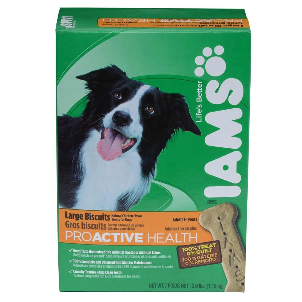 IAMS PROACTIVE HEALTH Adult Large Biscuits Natural Chicken Flavor 2.6 Pounds (Pack of 6)