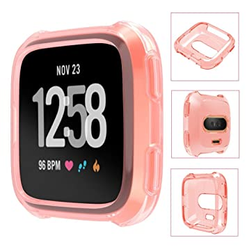 Amazon.com: Voberry Soft TPU Protection Silicone Full Case Cover For Fitbit Versa (Pink): Beauty