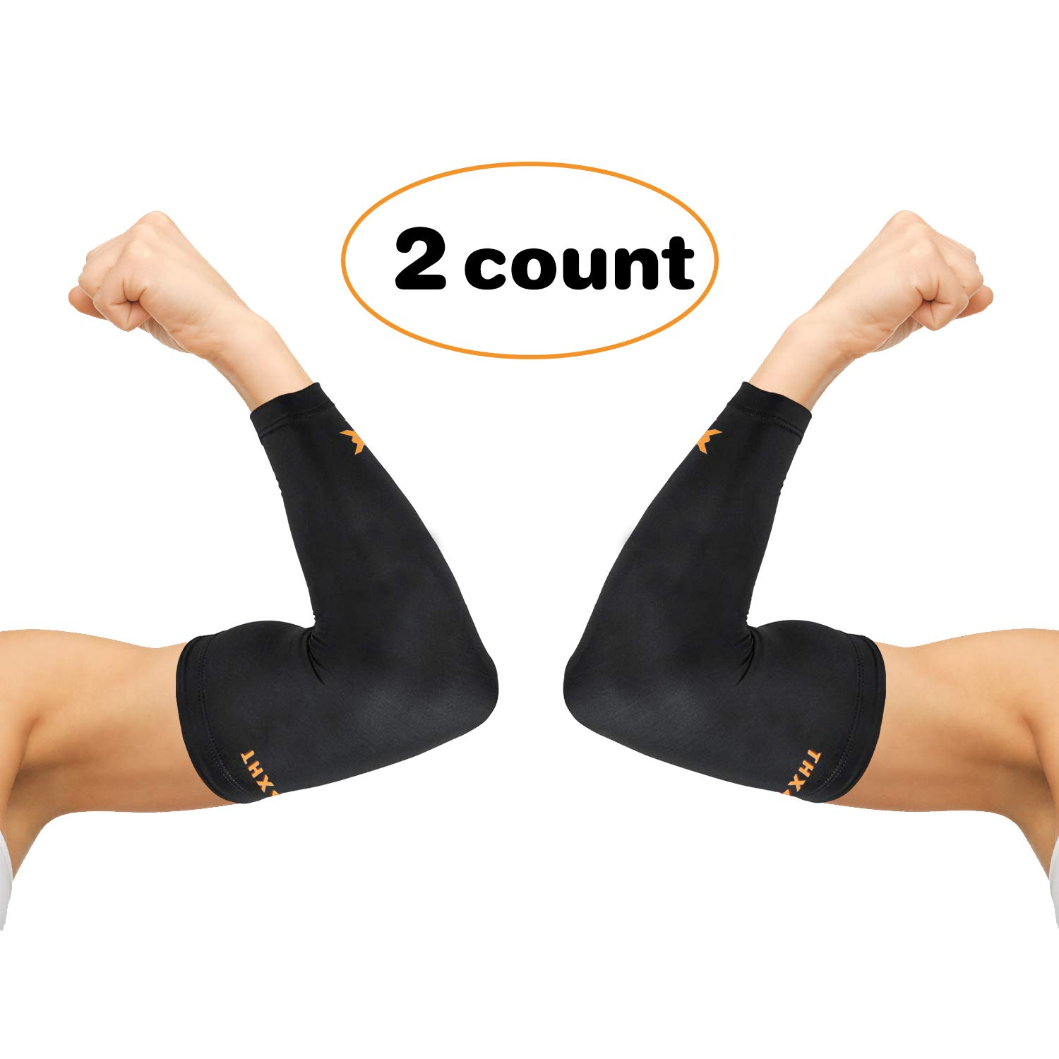 Thx4 Copper Elbow Compression Sleeve(1 Pair) - #1 Copper Infused Support –Guaranteed Recovery Copper Elbow Brace-Idea for Workouts, Sports, Golfers, Tennis Elbow, Arthritis, Tendonitis-Large