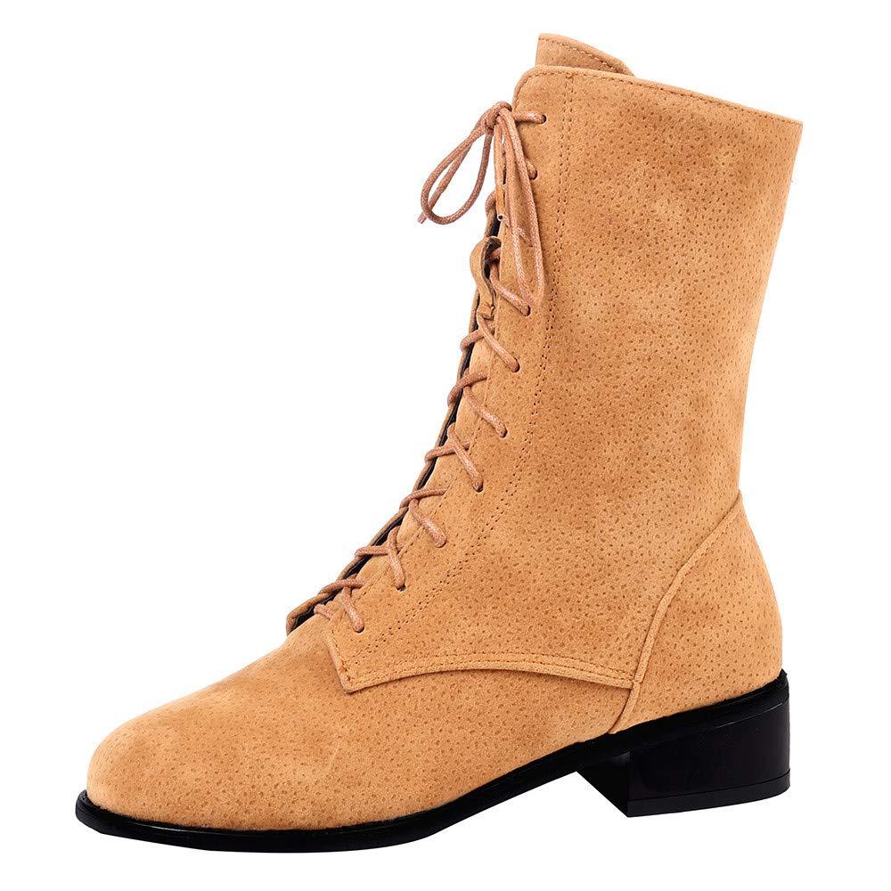 LuckyGirls Botas Zapatos de Tacó n Bajo con Cordones Calzado Zapatillas para Mujer Botina 3cm