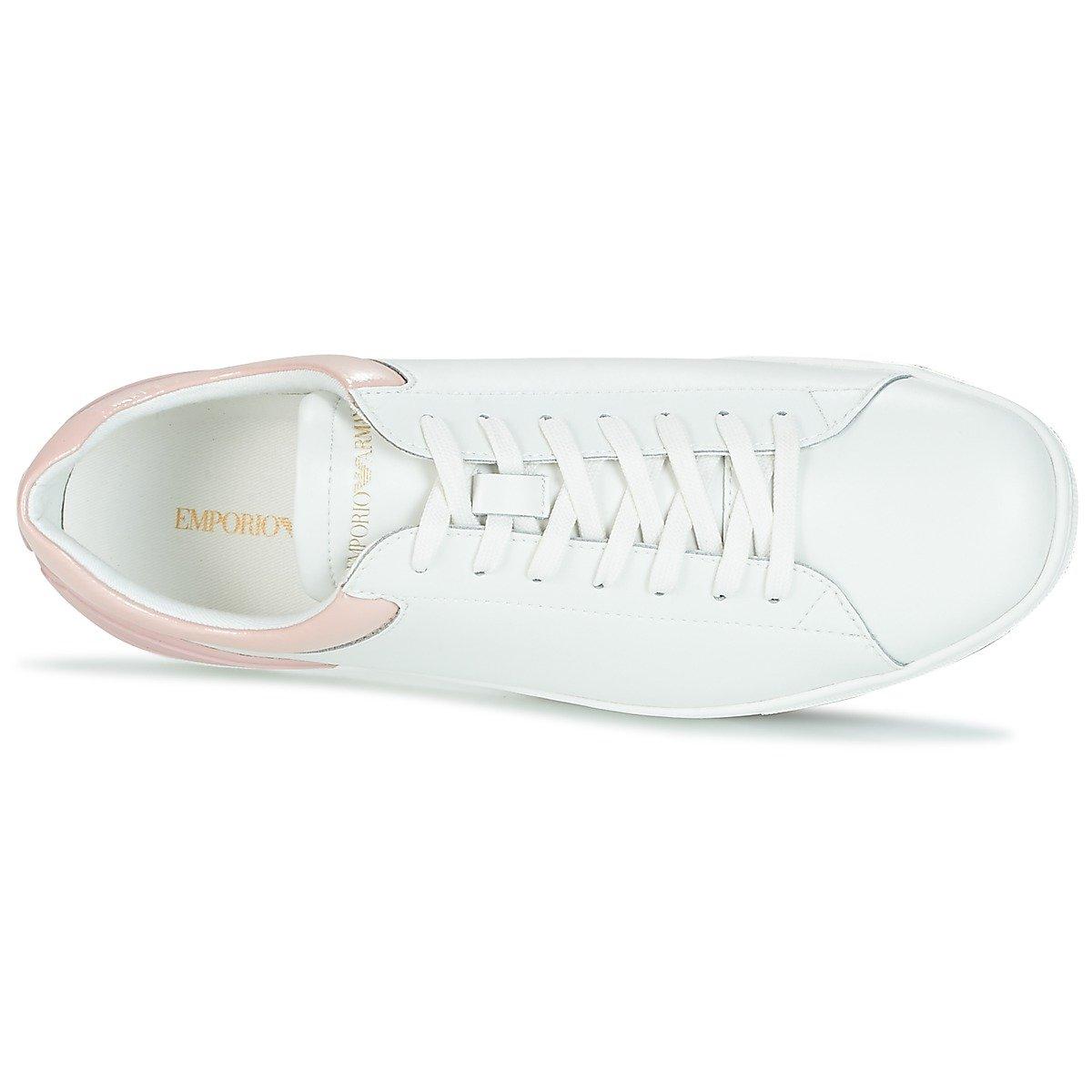 Emporio Emporio Emporio Armani Heel Logo Court Damen Turnschuhe Weiß 1ae18a