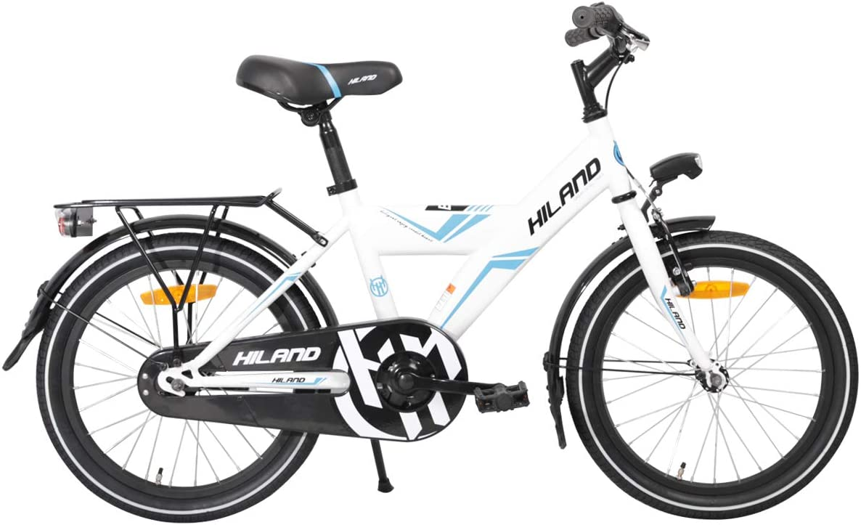 Bicicletta per Bambini da 18 Pollici 5-9 Anni HILAND Freno a Mano e contropedale Nero//Bianco con Sedile Posteriore//Portapacchi