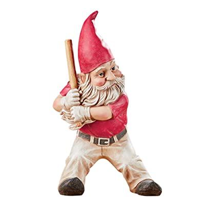Collections Etc Baseball Playing Gnomes Garden Figurine with Hand-Painted Detail - Whimsical Outdoor Décor : Garden & Outdoor