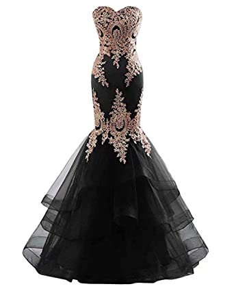 922bf9dd8a4 Gold Applique Ruffle Formal Dresses for Women Evening Mermaid Strapless  Party Dress Plus Size Black 2