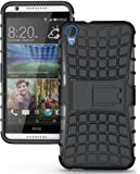 Wellmart Hybrid Defender Military Grade Armor Kick Stand Back Case Cover for HTC Desire 820G Plus Dual sim (Black)