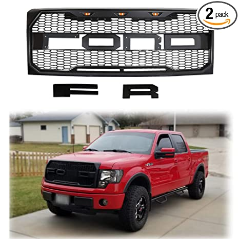 Front Grille Fits 2009-2014 FORD F150 Raptor Style Grill Kits With Amber LED Light and F/&R Letter Black