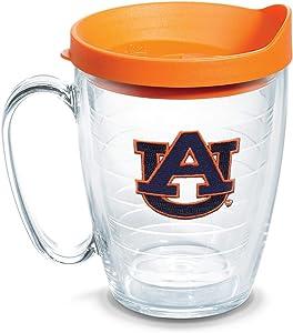 Tervis 1056775 Auburn Tigers Tumbler with Emblem and Orange Lid 16oz Mug, Clear