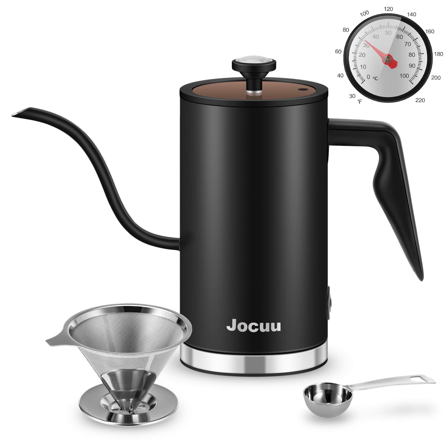 Jocuu Gooseneck Electric Hot Water Kettle Drip Kettle 500 Millilitre 304 Stainless Steel with Thermometer and Status Indicator for Making Tea, Pour Over Coffee and Boiling Water