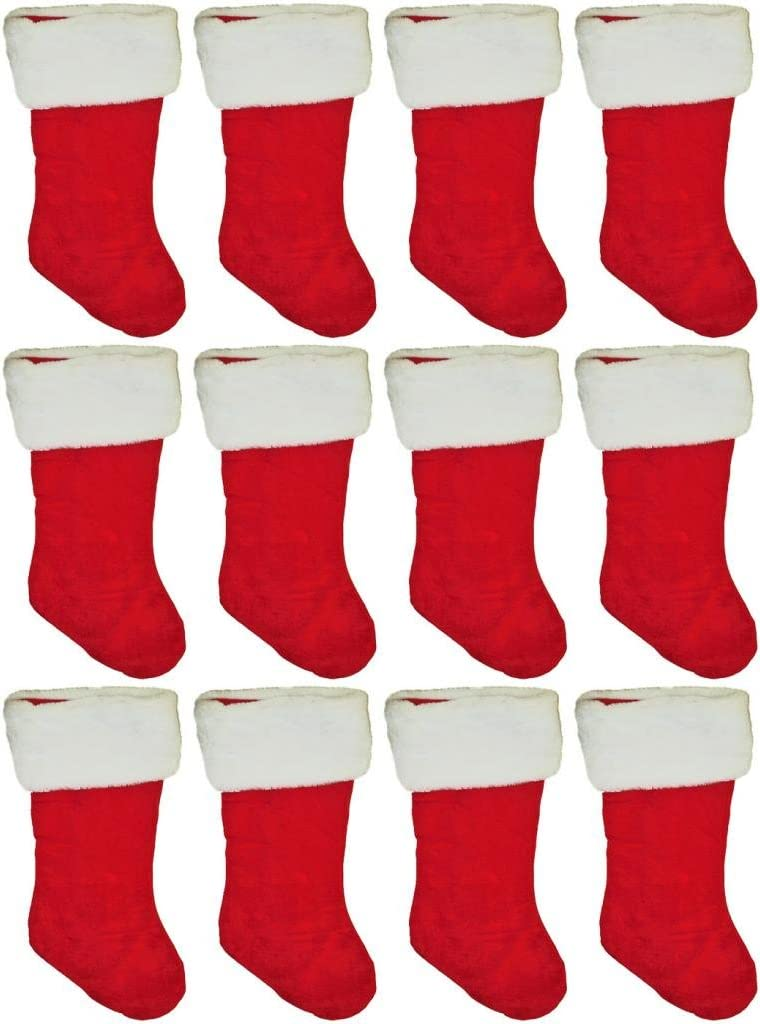 """Set of 12 Black Duck Brand 19"""" Red Velvet Stocking (12 Pack) W/White Plush Cuff & Red Hanging Tag"""