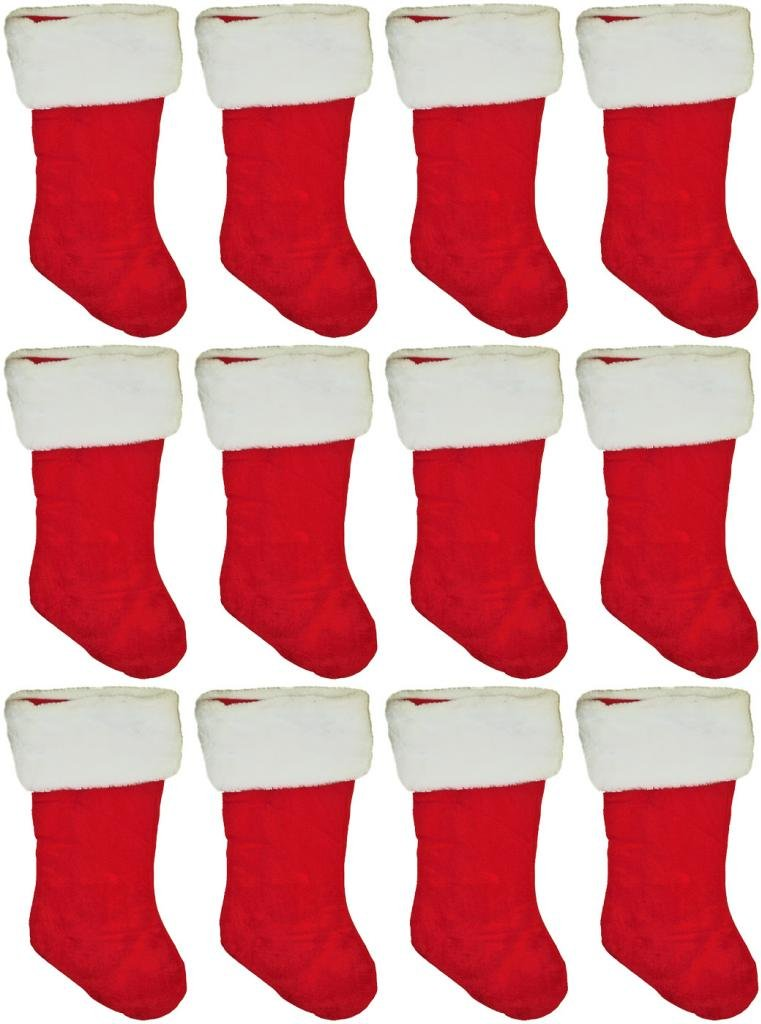19'' Red Velvet Stocking (12 Pack) W/White Plush Cuff & Red Hanging Tag