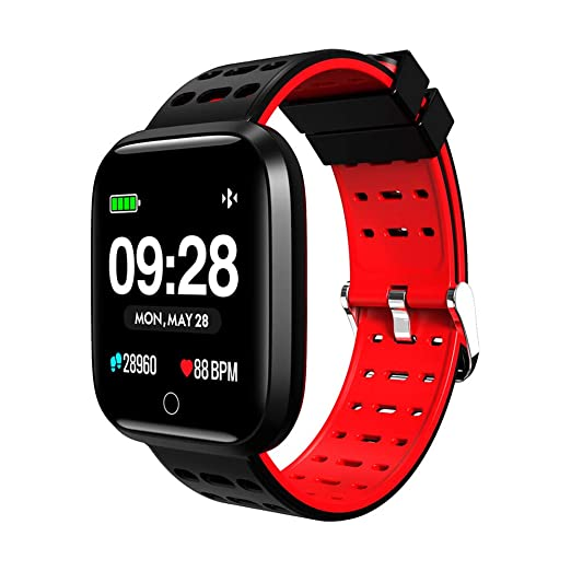 Denret3rgu Lemfo Q8 Relojes Inteligentes Impermeable Ritmo cardíaco Gimnasio Rastreador Pulsera Deportes Pulsera Inteligente - Rojo: Amazon.es: Relojes
