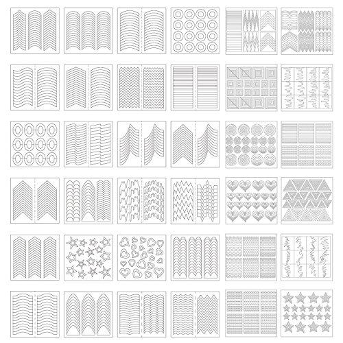(eBoot 1275 Pieces 49 Designs Nail Art Stencils French Tip Guides Stickers Form Fringe Guides Vinyl, 36)