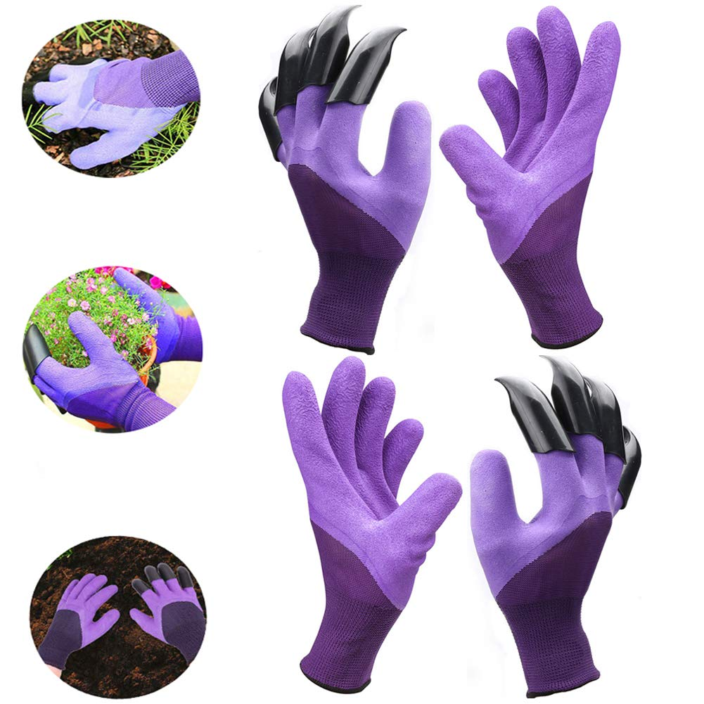 Claws Garden Gloves for Digging and Planting, Best Gift for Gardener and Women (Purple 2 pairs)
