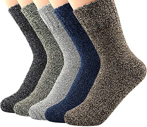 Zando Mens Warm Thick Socks Cozy Wool Sock Comfort Mid Calf Sock Winter Athletic Socks Vintage Cashmere Sock Crew Socks
