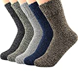 Zando Mens Warm Thick Socks Cozy Wool Sock Comfort Mid Calf Sock Winter Athletic Socks Vintage Cashmere Sock Hiking Crew Socks Cabin Sock 5 Pairs Solid Color A One Size
