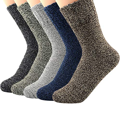 Socks Knit (Zando Athletic Sports Knit Pattern Womens Winter Socks Crew Cut Cashmere Retro Thick Warm Soft Wool Socks 5 Pack - Vintage Solid Shoe Size 6-11)