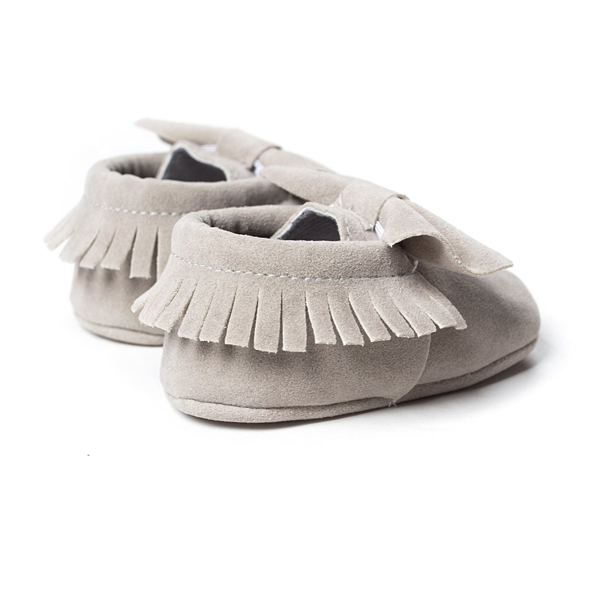 LIVEBOX Infant Baby Girls and Boys Premium Soft Sole Moccasins Tassels Prewalker Anti-Slip Toddler Shoes (S: 0~6 Months, Bow-Light Grey) by LIVEBOX (Image #3)