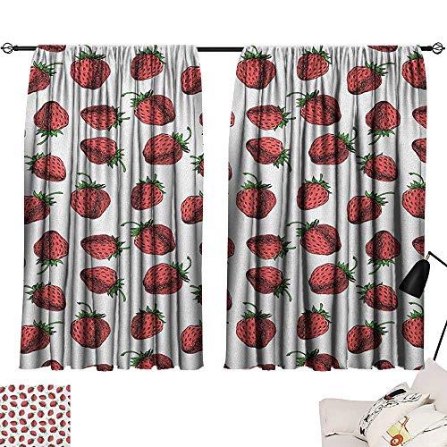 Michaeal Red and Green Woven Darkening Curtains Vibrant Hand Drawn Strawberry Pattern Fresh Summer Fruit Design Curtain Darkening Blackout Red White Fern Green W63 x L63